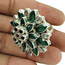 Charming Garnet, Green Onyx, Crystal Gemstone Openable Ring 925 Silver Vintage Jewellery