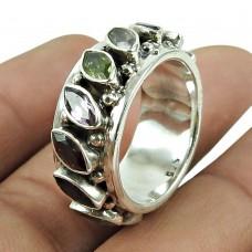 Lovely Garnet, Periot, Amethyst Gemstone Ring Indian Sterling Silver Jewellery