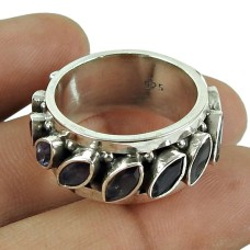 Lustrous Iolite Gemstone Ring 925 Sterling Silver Fashion Jewellery