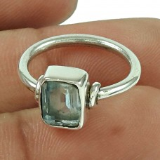 Charming Blue Topaz Gemstone Ring 925 Sterling Silver Vintage Jewellery