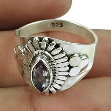 Designer Amethyst Gemstone Ring Sterling Silver Indian Jewellery