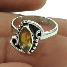 Engaging Citrine Gemstone Ring 925 Sterling Silver Jewellery