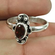 Beautiful Real Garnet Gemstone Sterling Silver Ring 925 Silver Jewellery