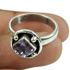 Fashion Amethyst Gemstone Ring 925 Sterling Silver Antique Jewellery