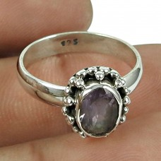 Lustrous Amethyst Gemstone Sterling Silver Ring 925 Silver Fashion Jewellery