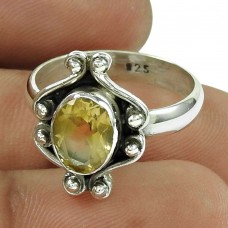 Good-Looking Citrine Gemstone Sterling Silver Ring 925 Silver Antique Jewellery