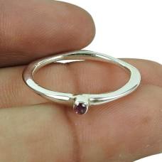 Charming Pink CZ Gemstone Ring 925 Sterling Silver Vintage Jewellery