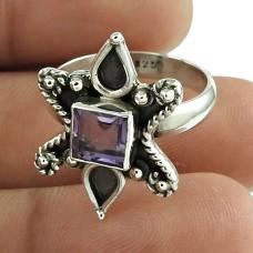 Designer Amethyst Gemstone Ring 925 Sterling Silver Indian Jewellery Wholesaling