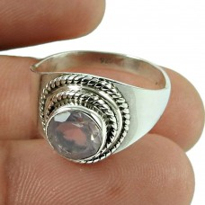 Possessing Good Fortune Rose Quartz Gemstone Ring 925 Sterling Silver Indian Jewellery