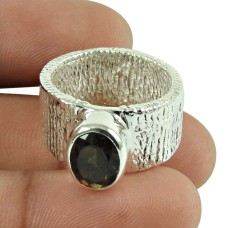 Dainty Smoky Quartz Gemstone Ring 925 Sterling Silver Vintage Jewellery Wholesale
