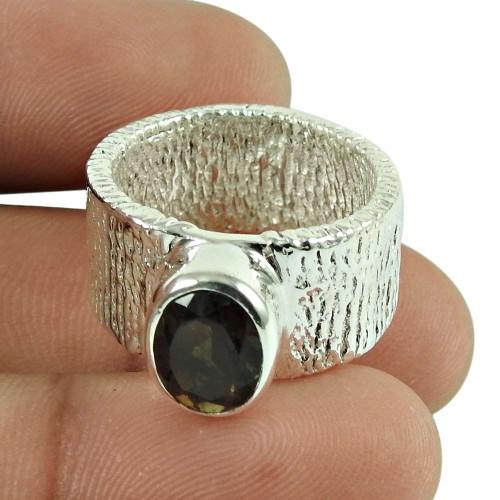 Dainty Smoky Quartz Gemstone Ring 925 Sterling Silver Vintage Jewellery Wholesale