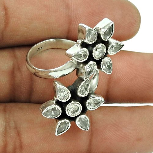 Rattling CZ Gemstone Ring 925 Silver Jewellery