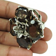 Dainty Smoky Quartz Gemstone Ring 925 Sterling Silver Vintage Jewellery