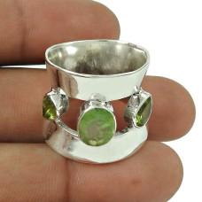 Excellent Peridot, Prehnite Gemstone Ring 925 Sterling Silver Vintage Jewellery