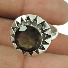 Rare Smoky Quartz Gemstone Ring 925 Sterling Silver Fashion Jewellery