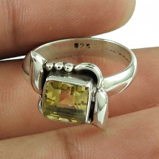 Sightly Citrine Gemstone Ring Indian Sterling Silver Jewellery Mayorista