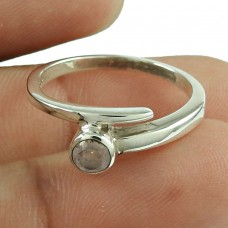 Fashion Rose Quartz Gemstone Ring 925 Sterling Silver Antique Jewellery