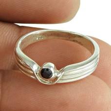 Graceful Black CZ Gemstone Ring Sterling Silver Jewellery