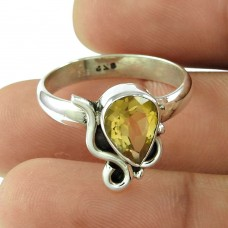 Handy Citrine Gemstone Ring Sterling Silver Fashion Jewellery Fabricant