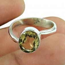 Classic Lemon Quartz Gemstone Ring 925 Sterling Silver Jewellery Manufacturer India
