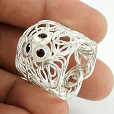 Sterling Silver Jewellery Designer Garnet Gemstone Ring