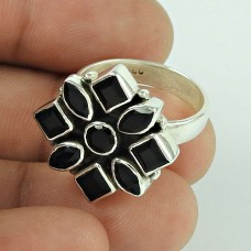 Large Stunning!! 925 Silver Black CZ Ring