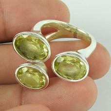 Stunning Natural Rich!! 925 Silver Lemon Quartz Ring