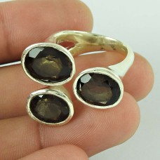 Big Secret Design!! 925 Silver Smoky Quartz Ring Wholesale