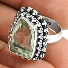 925 Sterling Silver Fashion Jewellery Rare Green Amethyst Gemstone Ring