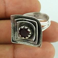 Modern Style Garnet Sterling Silver Ring
