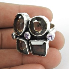 Favorite Smoky Quartz, Amethyst Sterling Silver Ring