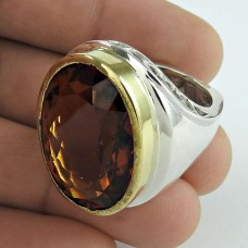 Daily Wear 925 Sterling Silver Citrine Gemstone Ring Jewelry