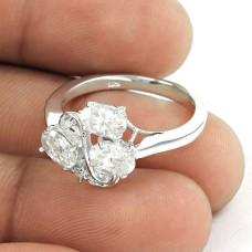 Delightful White C.Z Sterling Silver Ring