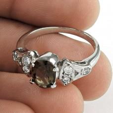 Secret Design Smoky Quartz, CZ Sterling Silver Ring