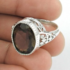 Stylish! 925 Silver Smoky Quartz Ring Wholesaler