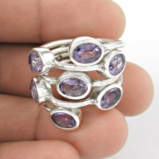Afternoon Sun !! Amethyst 925 Sterling Silver Ring Wholesaler India