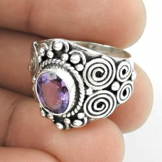 Charming !! Amethyst 925 Sterling Silver Ring Fabricante