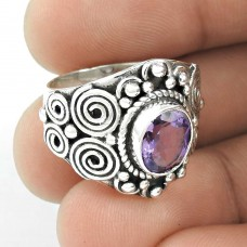 Chunky !! Amethyst 925 Sterling Silver Ring