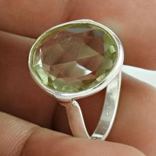 Shine !! Green Amethyst 925 Sterling Silver Ring Wholesaler