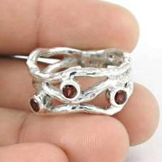 New Faceted !! Garnet 925 Sterling Silver Ring Al por mayor