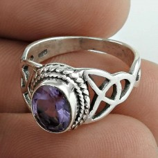Precious Style! Amethyst 925 Sterling Silver Ring Fabricante