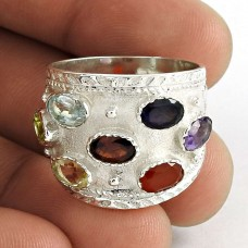 Beautiful Design! Amethyst, Garnet, Iolite, Carnelian, Blue Toaz, Peridot, Citrine 925 Sterling Silver Ring