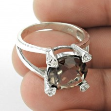 Fashion Design ! Smoky Quartz 925 Sterling Silver Ring Al por mayor