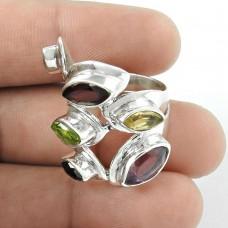 Stylish Design!! Peridot, Amethyst, Citrine, Garnet, Iolite, Smoky Quartz 925 Sterling Silver Ring