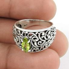 Huge Modern Style!! Peridot 925 Sterling Silver Ring