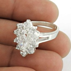 Excellent White C.Z Sterling Silver Ring