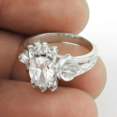 Big Amazing White C.Z Sterling Silver Ring