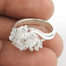 Designer White C.Z Sterling Silver Ring
