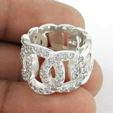 First Sight White C.Z Sterling Silver Ring Manufacturer India