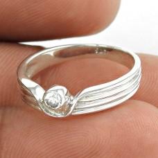 Love Circle ! White C.Z Gemstone 925 Sterling Silver Ring